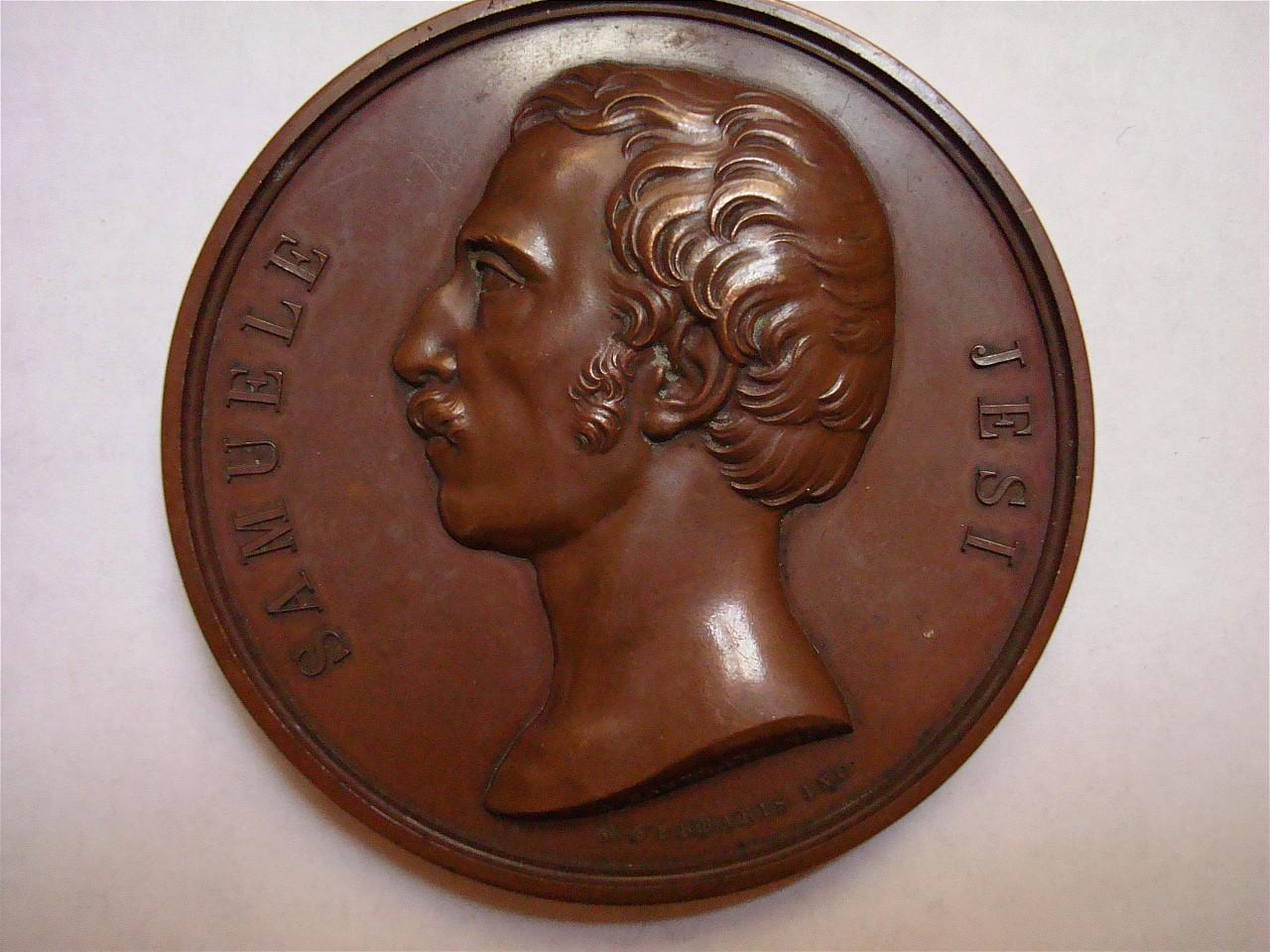 ritratto di Samuele Jesi (medaglia) di Hautman A, Ferraris Giuseppe (sec. XIX)