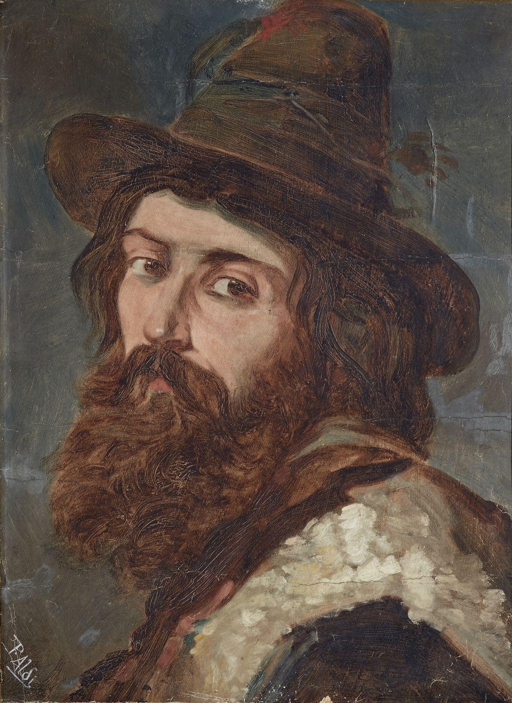 Ritratto di buttero, ritratto di mandriano (dipinto) di Aldi Pietro (sec. XIX)