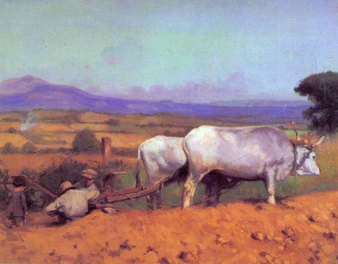 La rottura dell'aratro, contadini con aratro trainato da buoi (dipinto) di Pascucci Paride (sec. XIX)