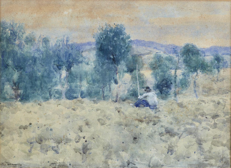 Estate, paesaggio estivo con contadino (disegno) di Pascucci Paride (attribuito) (sec. XX)