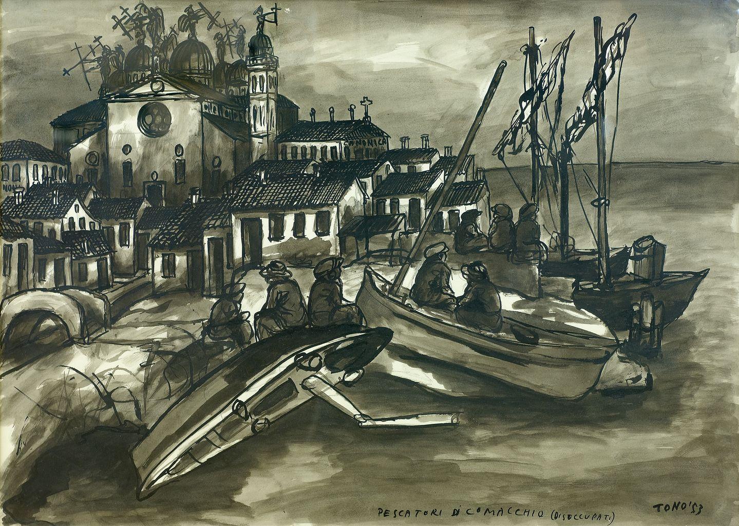 Pescatori di Comacchio (disoccupati), pescatori al porto di Comacchio (disegno) di Zancanaro Antonio detto Tono (attribuito) (sec. XX)