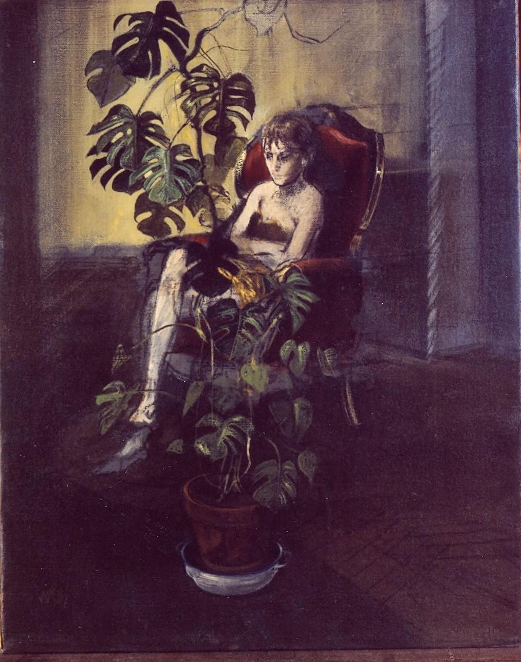 signora seduta (dipinto) di Sughi Alberto (sec. XX)