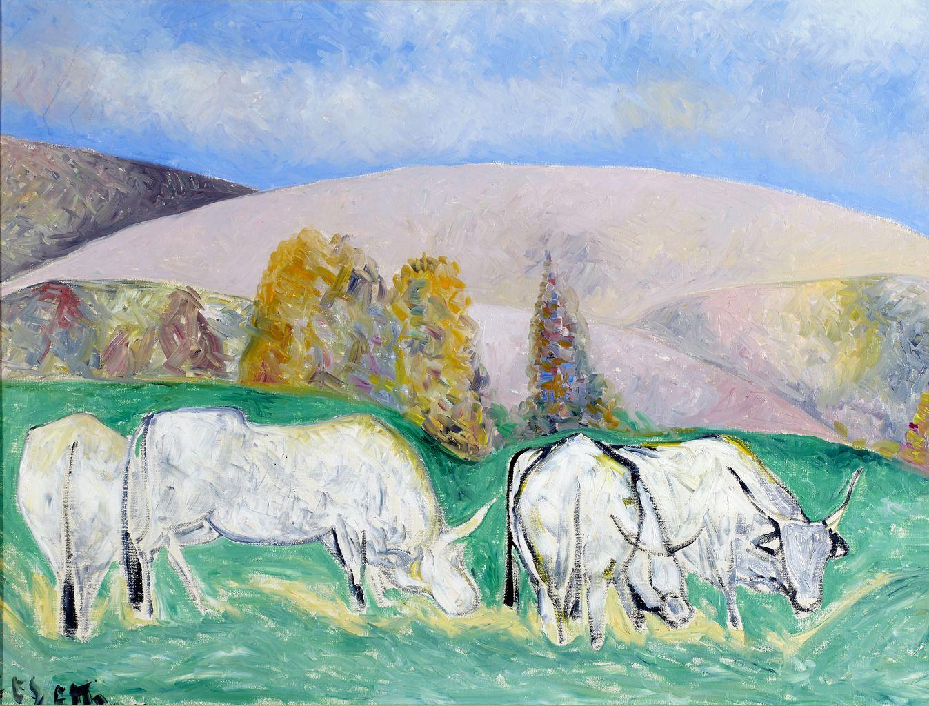 Buoi, paesaggio e cielo, paesaggio con buoi (dipinto) di Cesetti Giuseppe detto Tortorella (sec. XX)