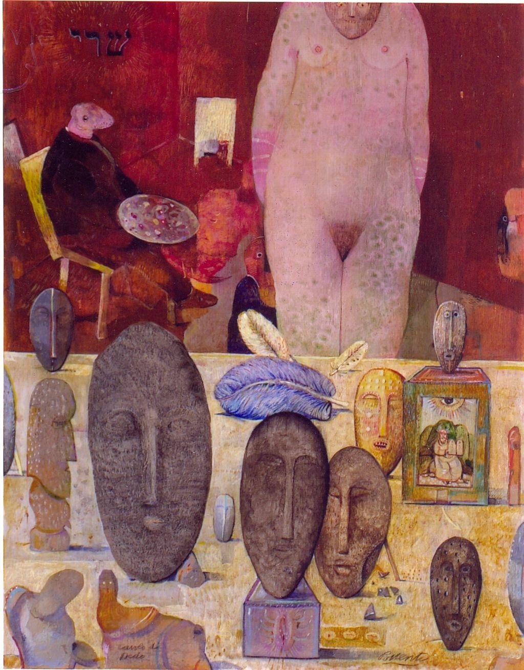 Tavolo di Dedo, studio d'artista (dipinto) di Possenti Antonio (sec. XX)