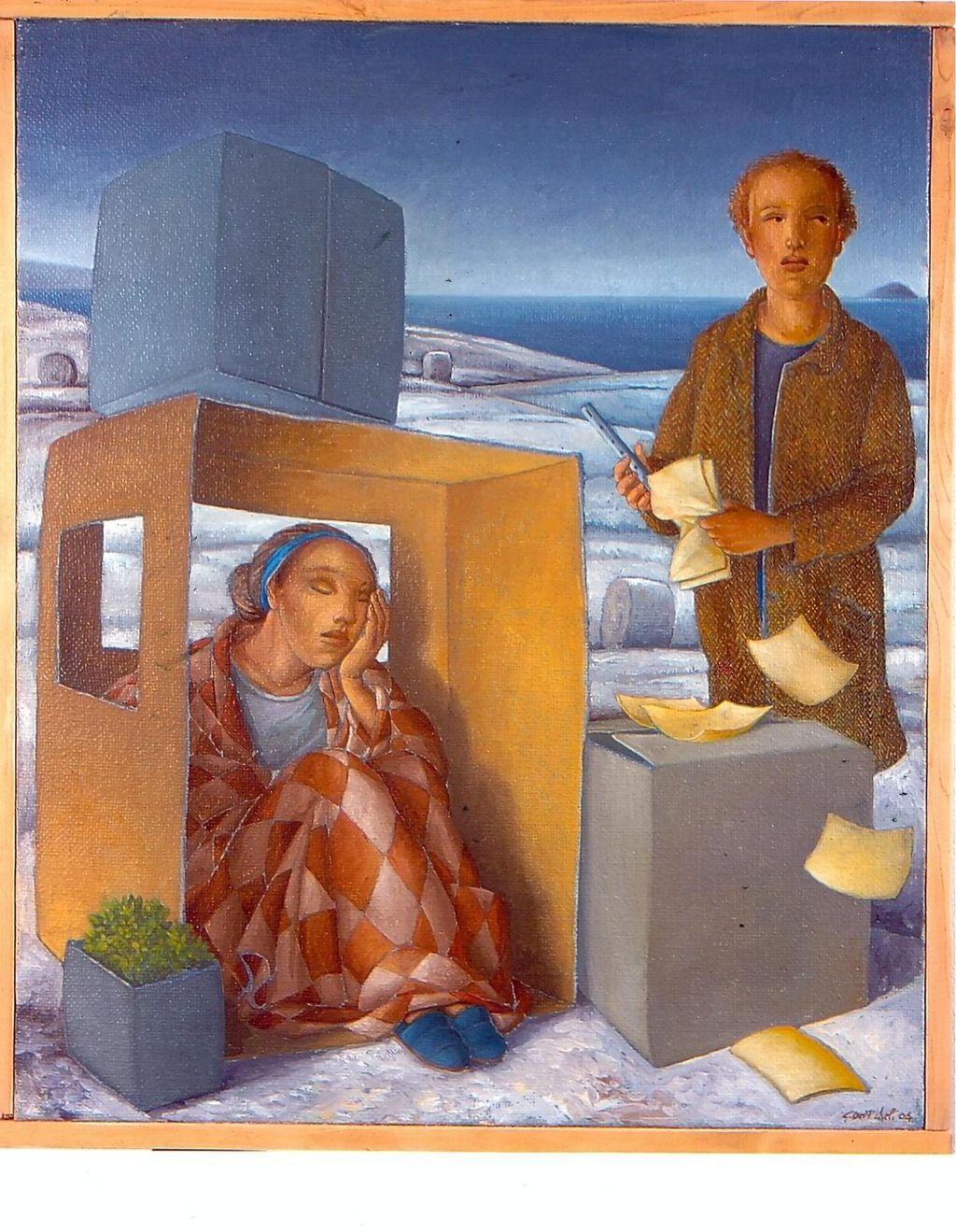 Alloggio invernale, una donna e un uomo si riparano dal freddo (dipinto) di De Micheli Giuseppe (sec. XXI)