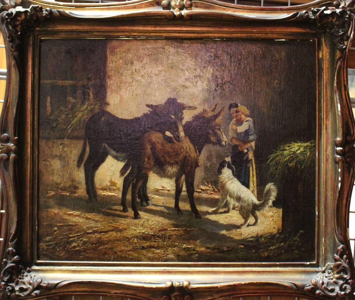 Le due maternità, Nella stalla, Donna con bambino e animali (dipinto) di Milone Antonio (seconda metà sec. XIX)