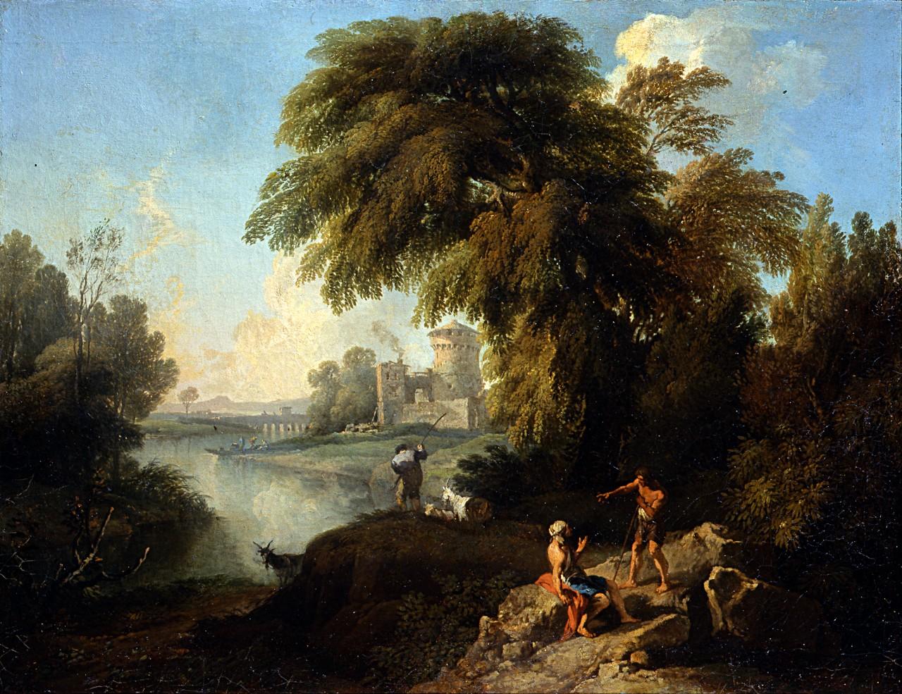 paesaggio con figure, fiume, rocca turrita e ponte (dipinto, pendant) di Locatelli Andrea (sec. XVIII)