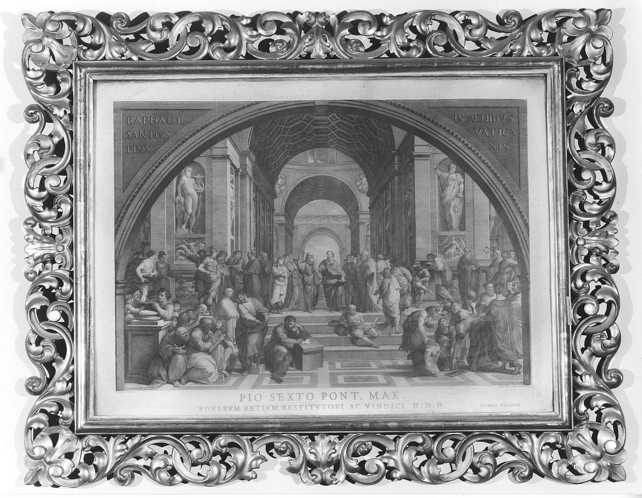 Scuola di Atene, allegoria della Storia e della Filosofia (stampa) di Cades Giuseppe, Volpato Giovanni (seconda metà sec. XVIII)