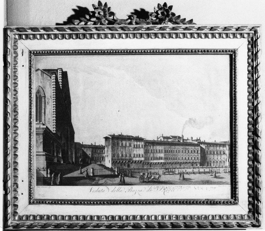 veduta di piazza S. Croce a Firenze (stampa) di Terreni Antonio, Pera Giuseppe (seconda metà sec. XVIII)