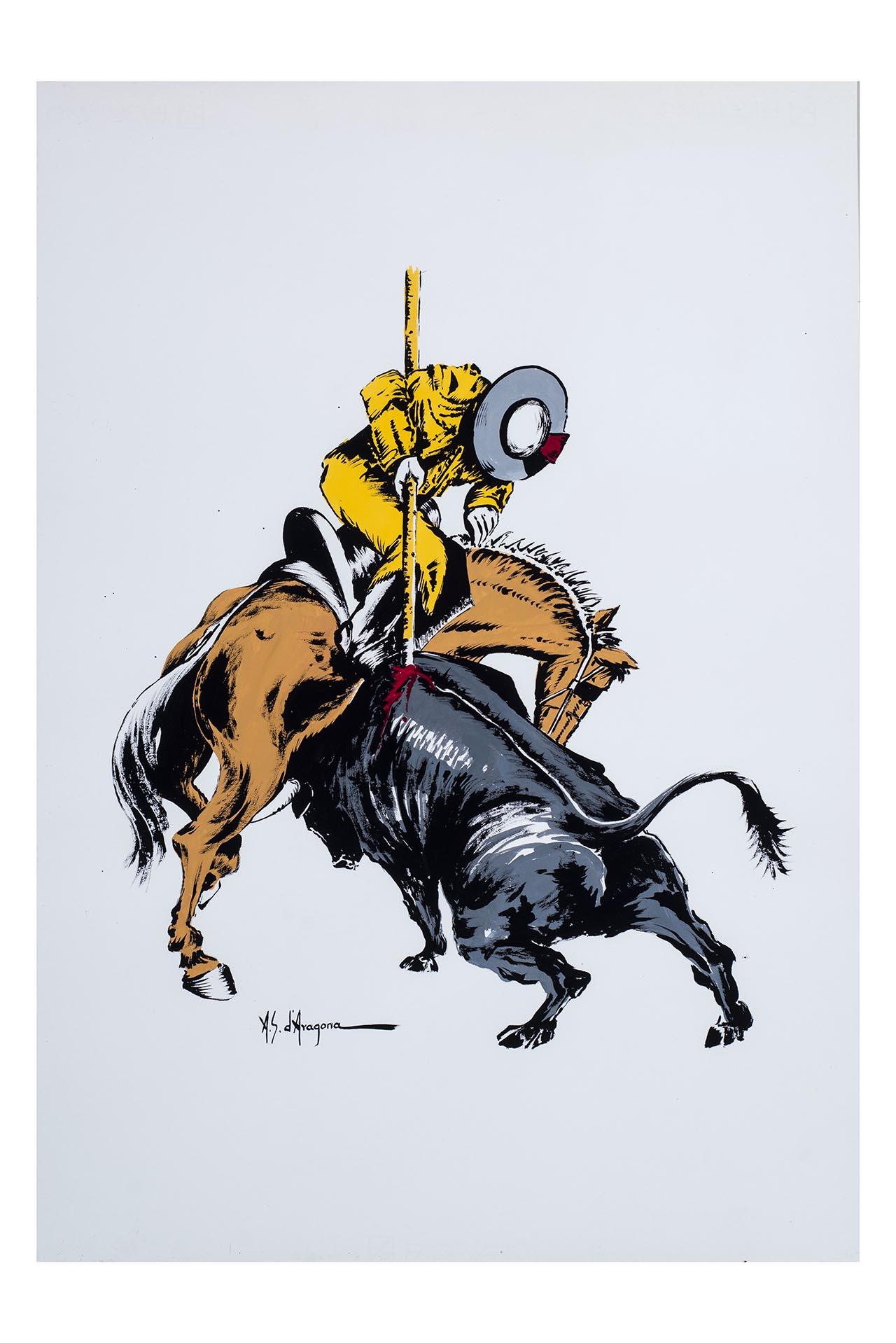 Corrida, Uomo con cavallo (dipinto, opera isolata) di Sanchez d'Aragona Antonio (attribuito) (XX)