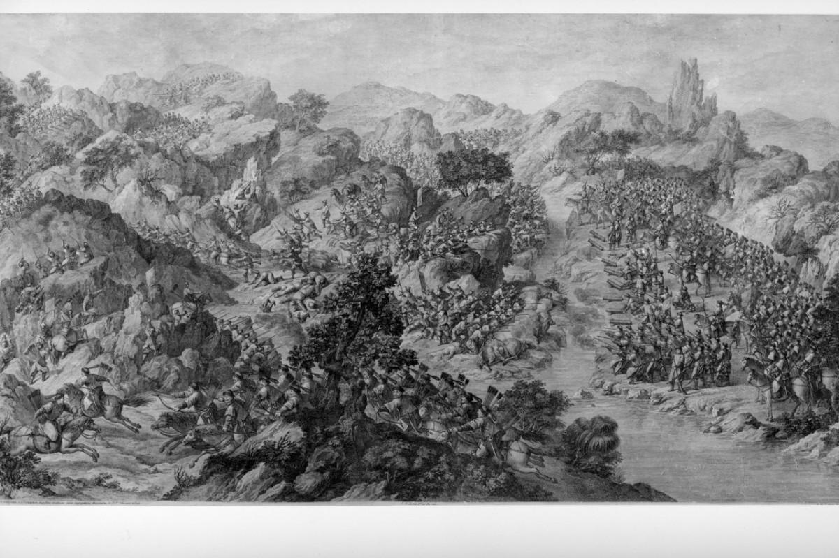 battaglia tra asiatici (stampa) di De Launay Nicolas (sec. XVIII)