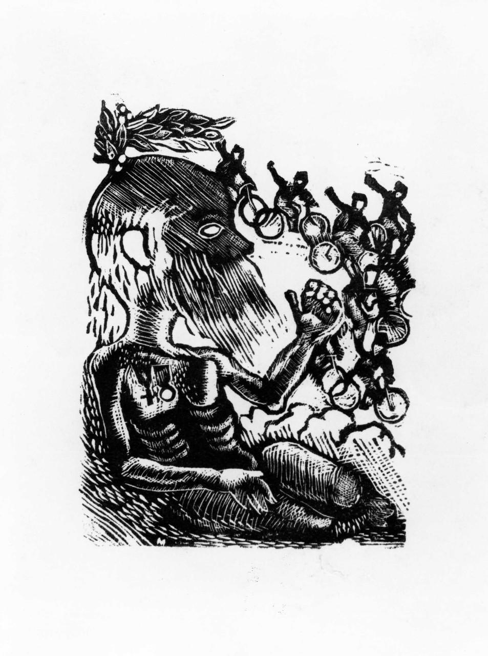 Contrasto tra il vecchio Selvaggio e i ragazzi del Fascio in bicicletta, allegoria della Gioventù e della Bellezza che vincono il Tempo (stampa) di Maccari Mino (sec. XX)