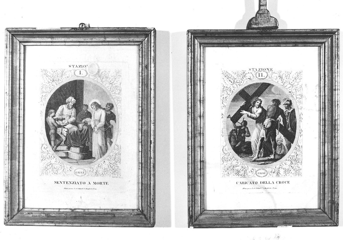 stazione II: Gesù caricato della croce (stampa) di Radax L (prima metà sec. XIX)