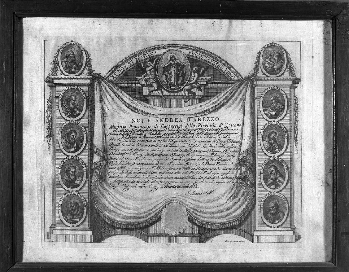 finte architetture con medaglioni e drappo (stampa) di Vascellini Gaetano (fine/ inizio secc. XVIII/ XIX)