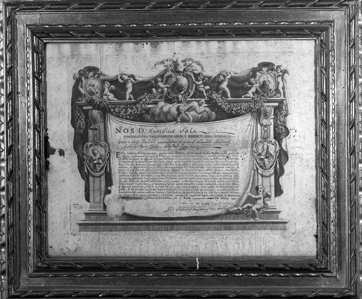 finte architetture con medaglioni e drappo (stampa) - ambito italiano (sec. XVII)