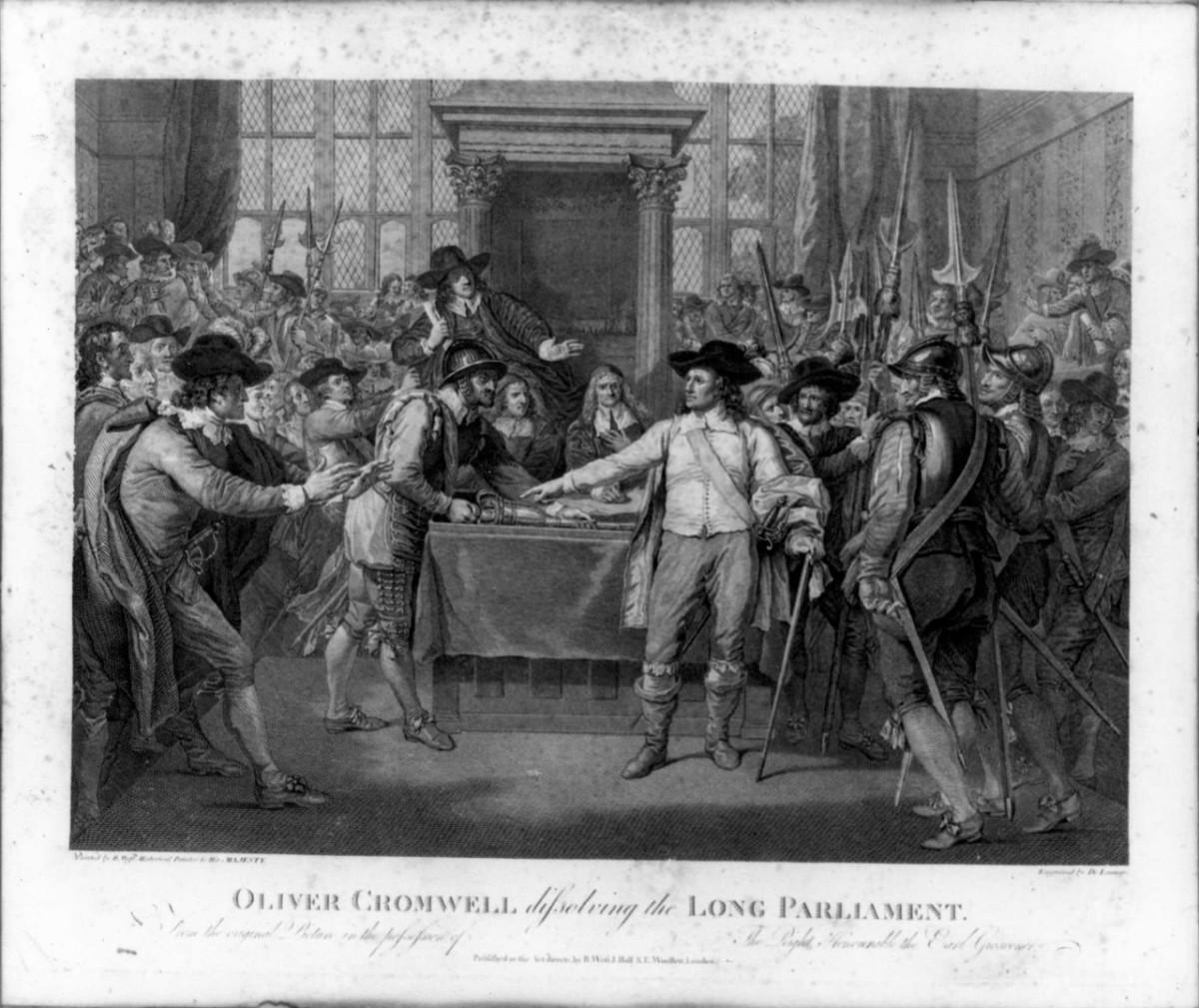 Oliver Cromwell scioglie il parlamento (stampa) di Woollet William, De Launay Nicolas (sec. XVIII)