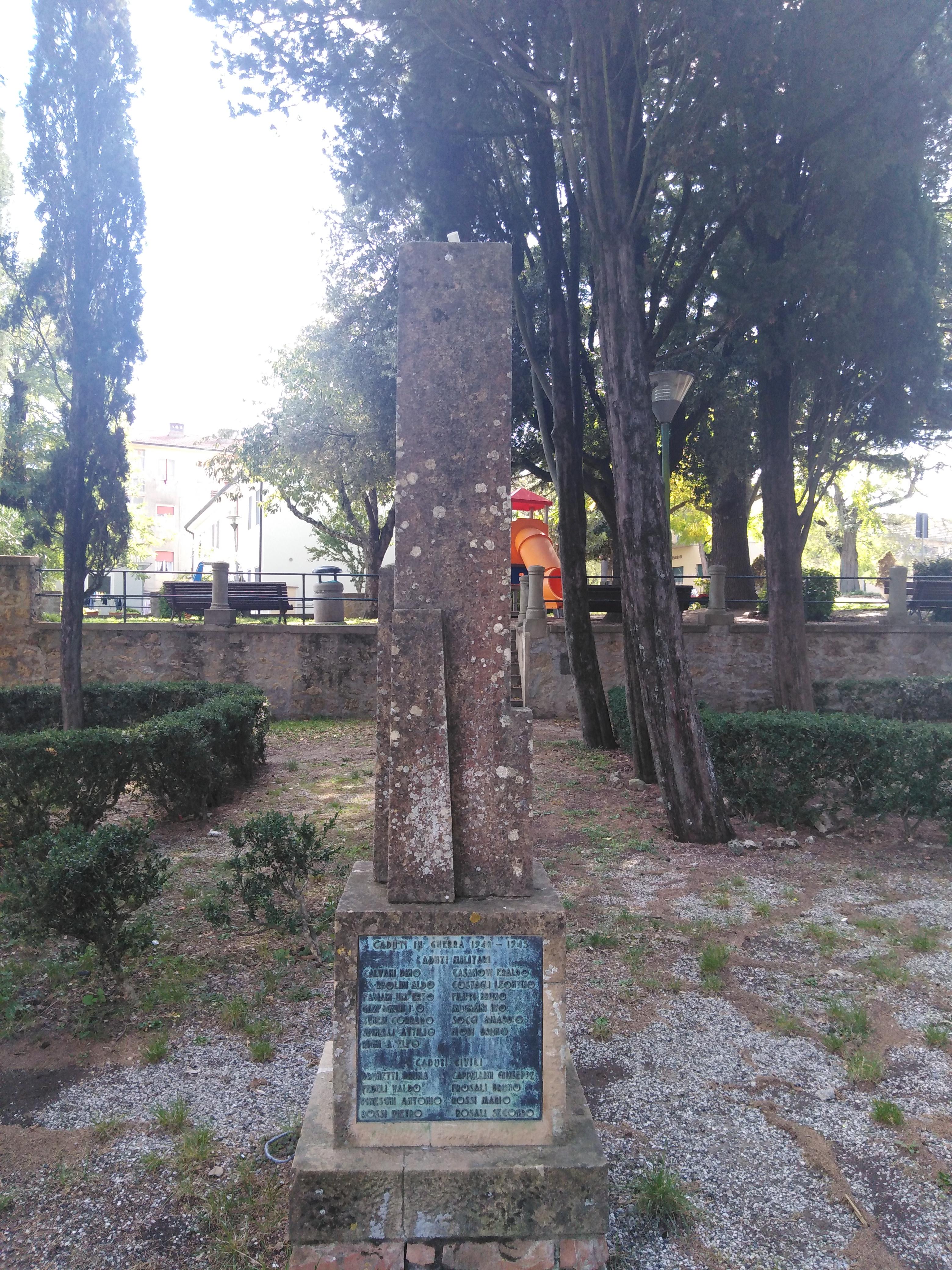 monumento ai caduti - a cippo - ambito toscano (prima metà sec. XX)