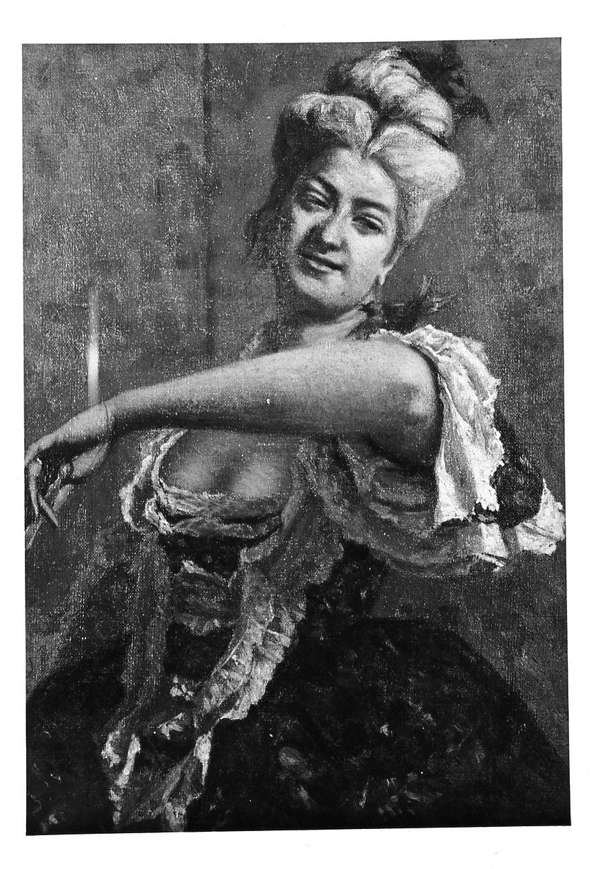 Signora in abito settecentesco, ritratto di donna (dipinto) di Zandomeneghi Federico (sec. XIX)