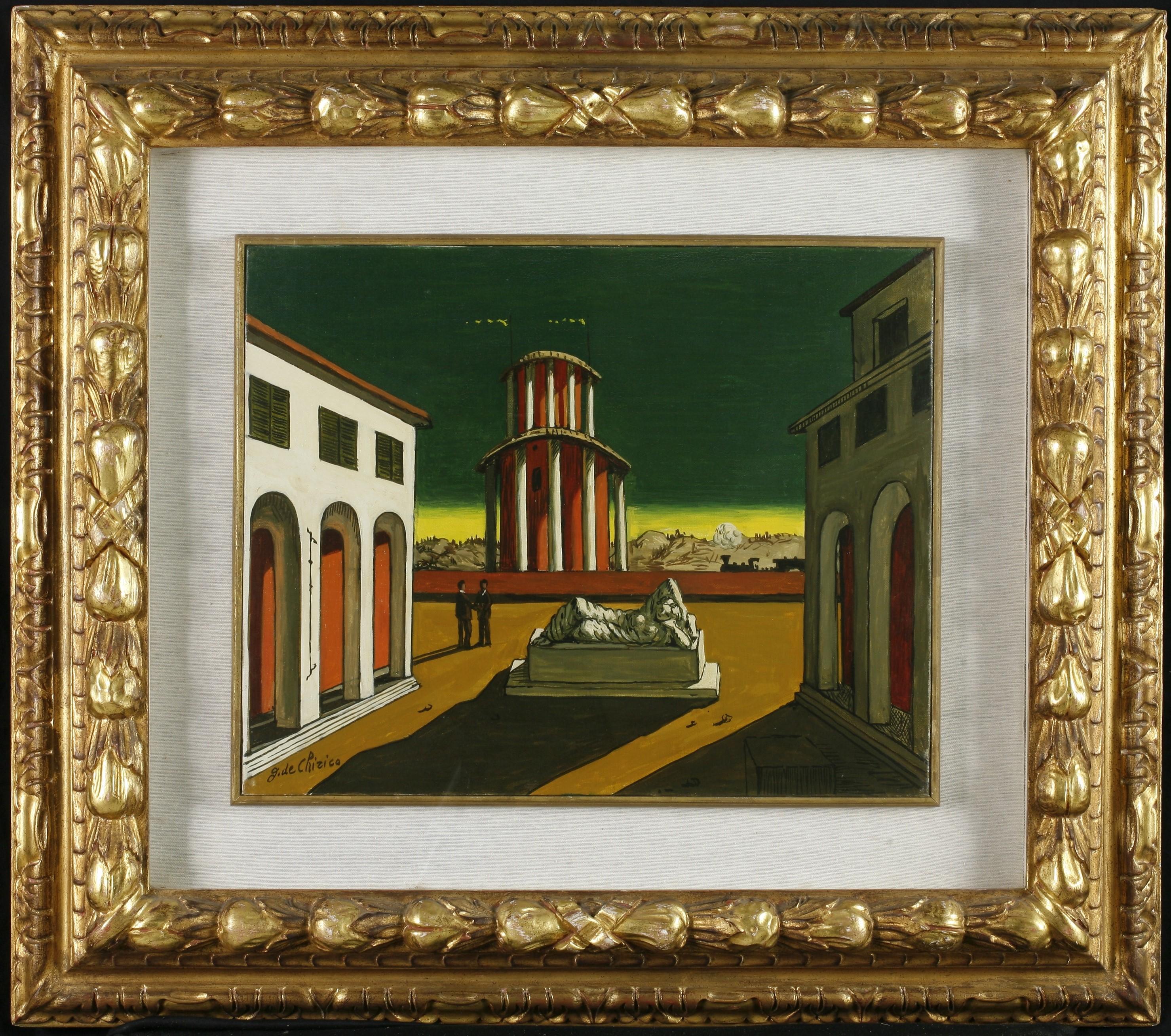 Piazza d'Italia, Architetture urbane (dipinto, opera isolata) di de Chirico Giorgio - ambito italiano (prima metà XX)