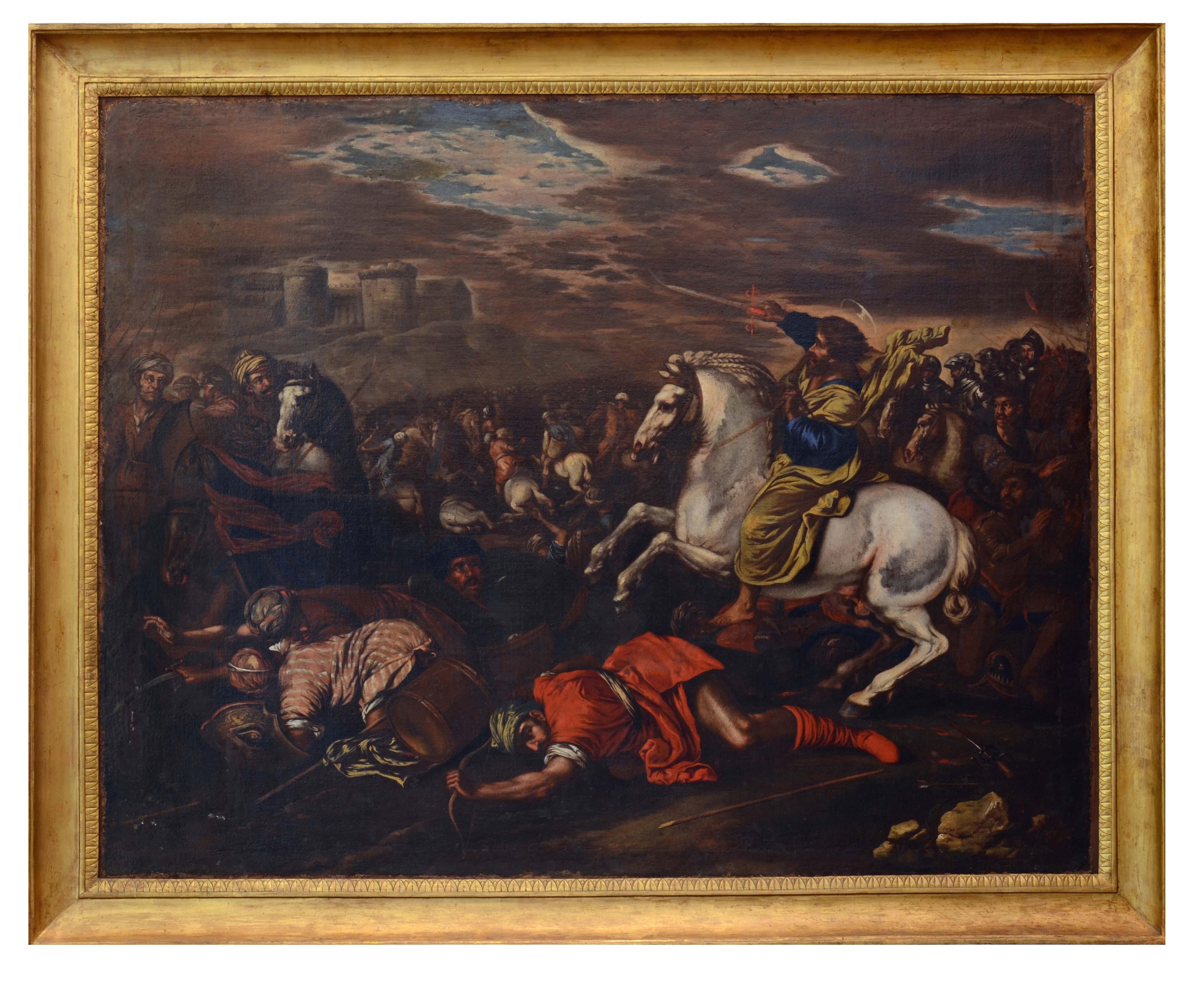 apparizione di San Giacomo nella battaglia contro i Mori (dipinto) di Andrea de Lione (attribuito) - ambito napoletano (XVII, prima metà)