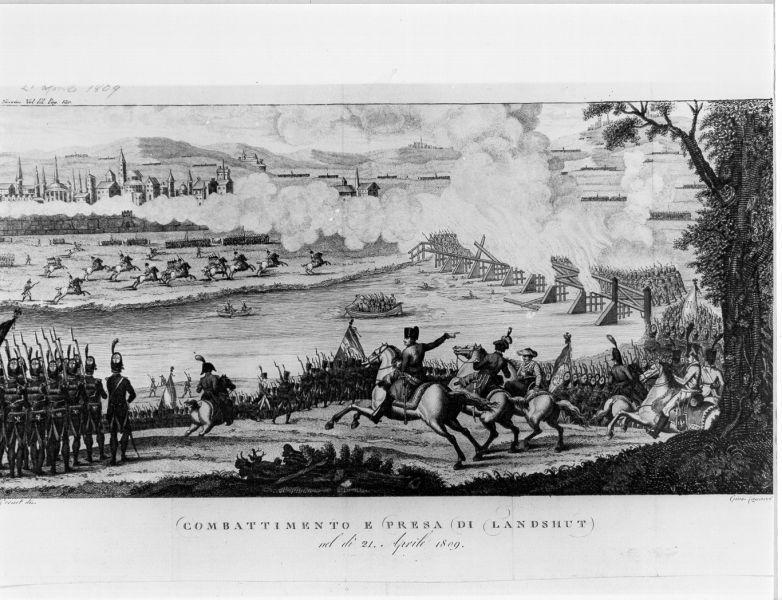 Combattimento e presa di Landschut nel di 21 aprile 1809, scena di battaglia (stampa) di Vernet Horace, Canacci Giuseppe (sec. XIX)