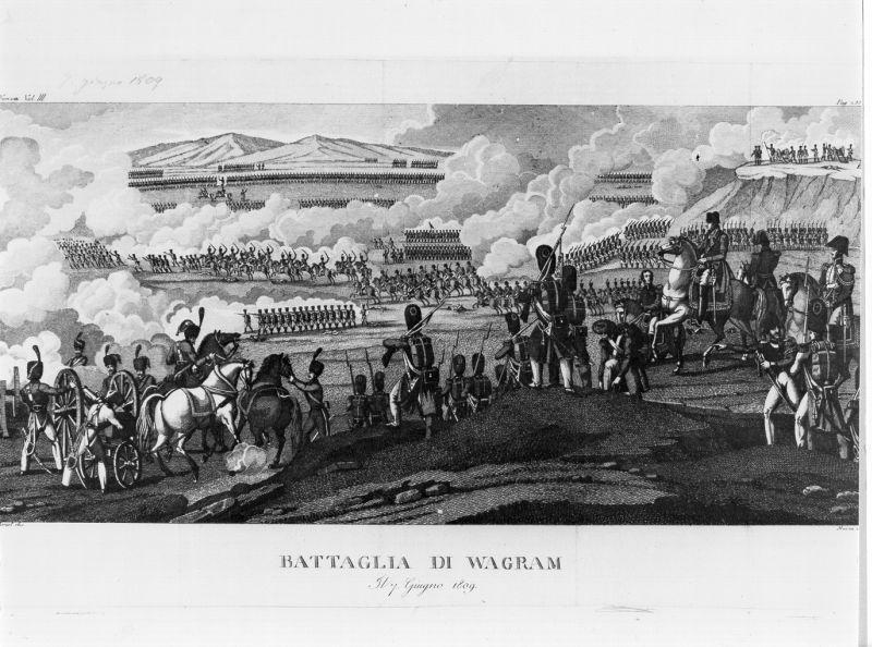 Battaglia di Wagram, scena di battaglia (stampa) di Vernet Horace, Maina J (sec. XIX)