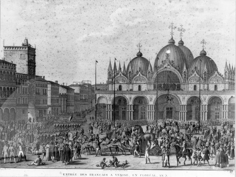 Veduta dell'ingresso dell'esercito francese in piazza S. Marco a Venezia (stampa) di Vernet Carle, Duplessi Bertaux Jean, Delaunay Robert (sec. XIX)