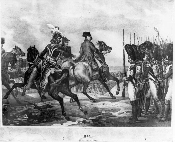Battaglia di Jena, scena di battaglia (stampa) di Vernet Horace, Zannoli (primo quarto sec. XIX)