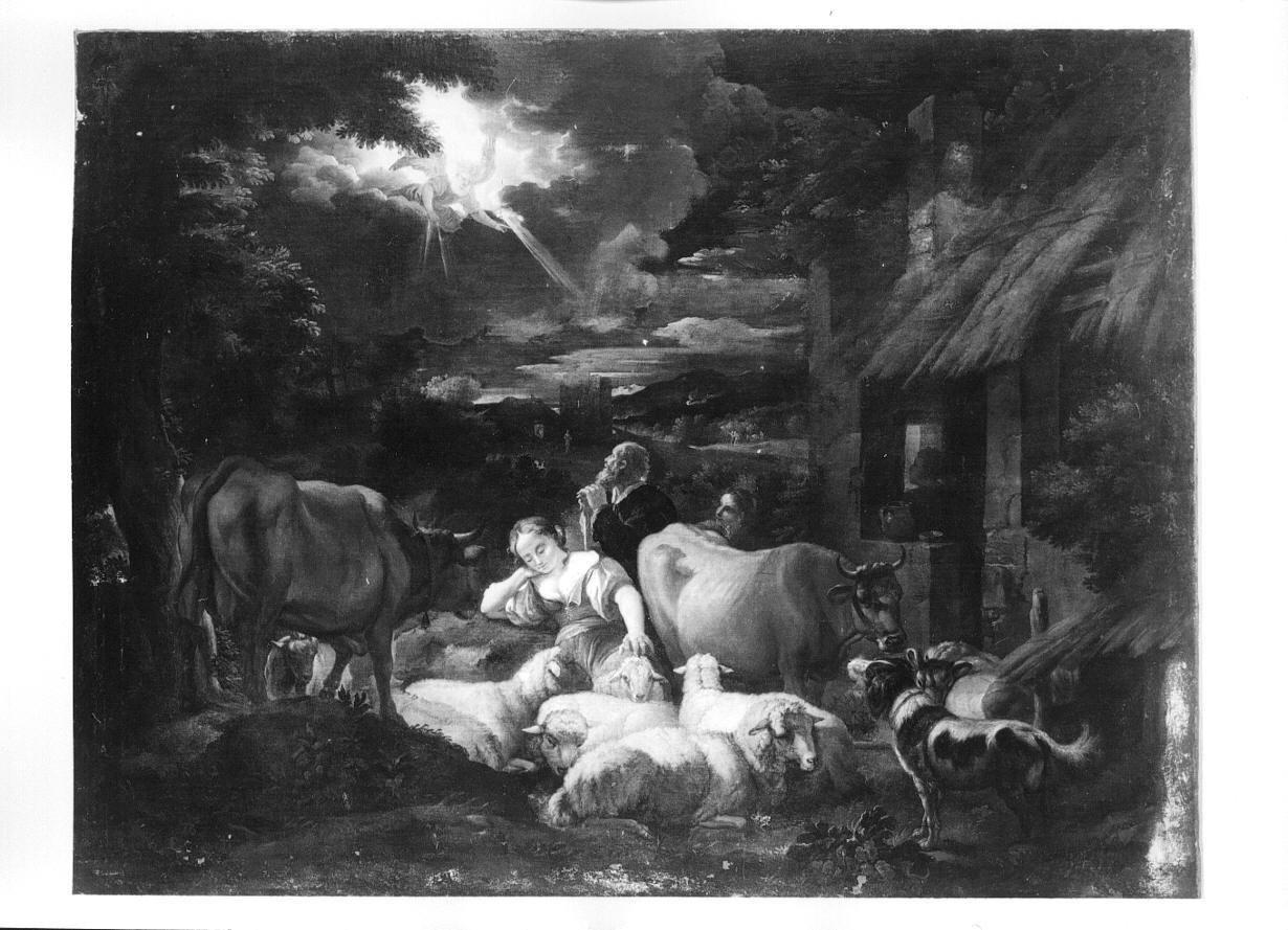 annuncio ai pastori (dipinto, opera isolata) - ambito genovese (seconda metà sec. XVII)