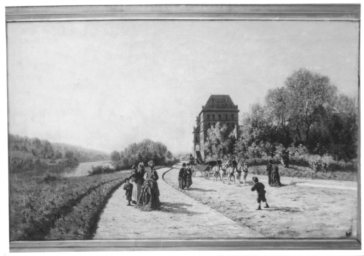 RITORNO DELLA CAMPAGNA (NOVEMBRE), paesaggio con figure (dipinto, opera isolata) di Ghisolfi Enrico (ultimo quarto sec. XIX)