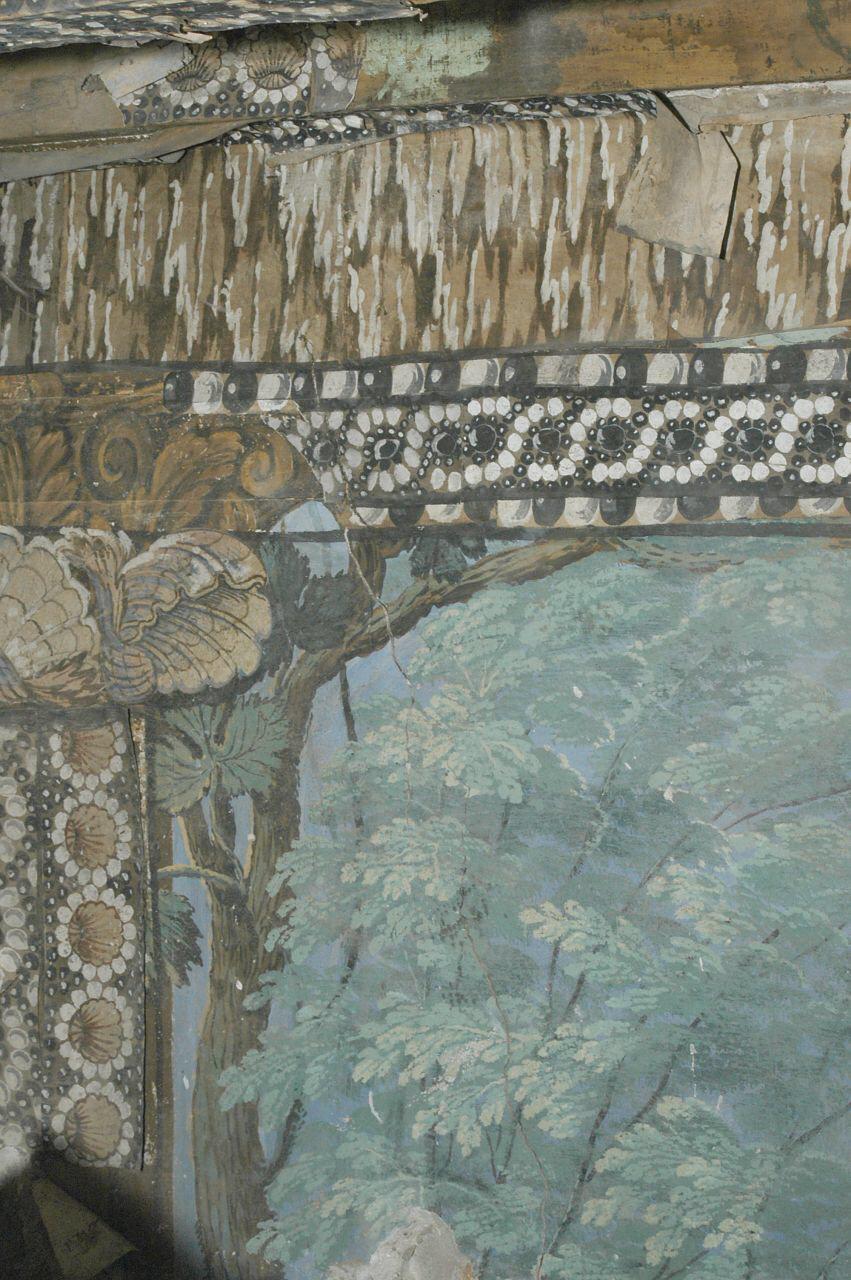 paesaggio con alberi e segni zodiacali (decorazione pittorica, elemento d'insieme) di Casella Andrea (attribuito) (sec. XVII)