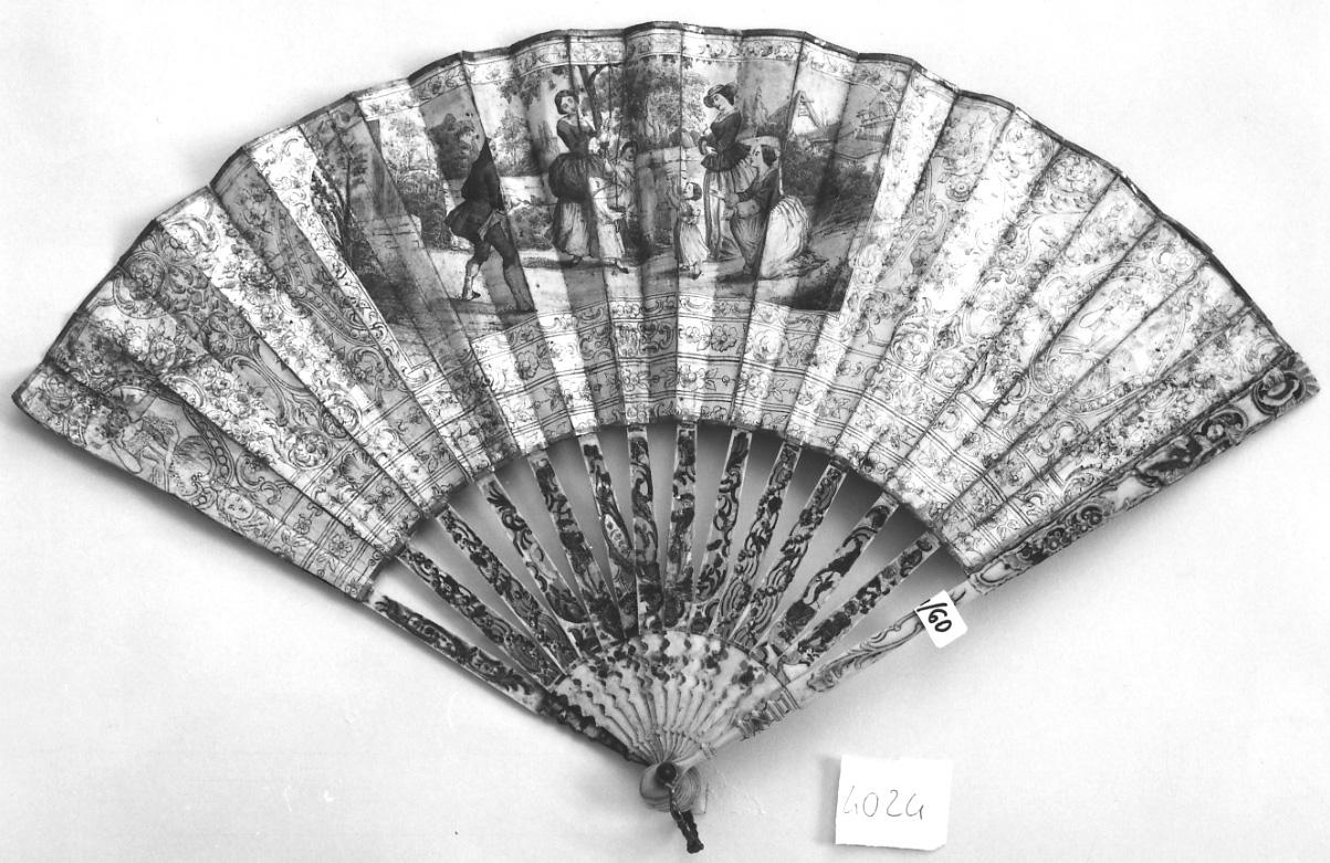 scena campestre con figure (ventaglio, opera isolata) - manifattura francese (sec. XIX)