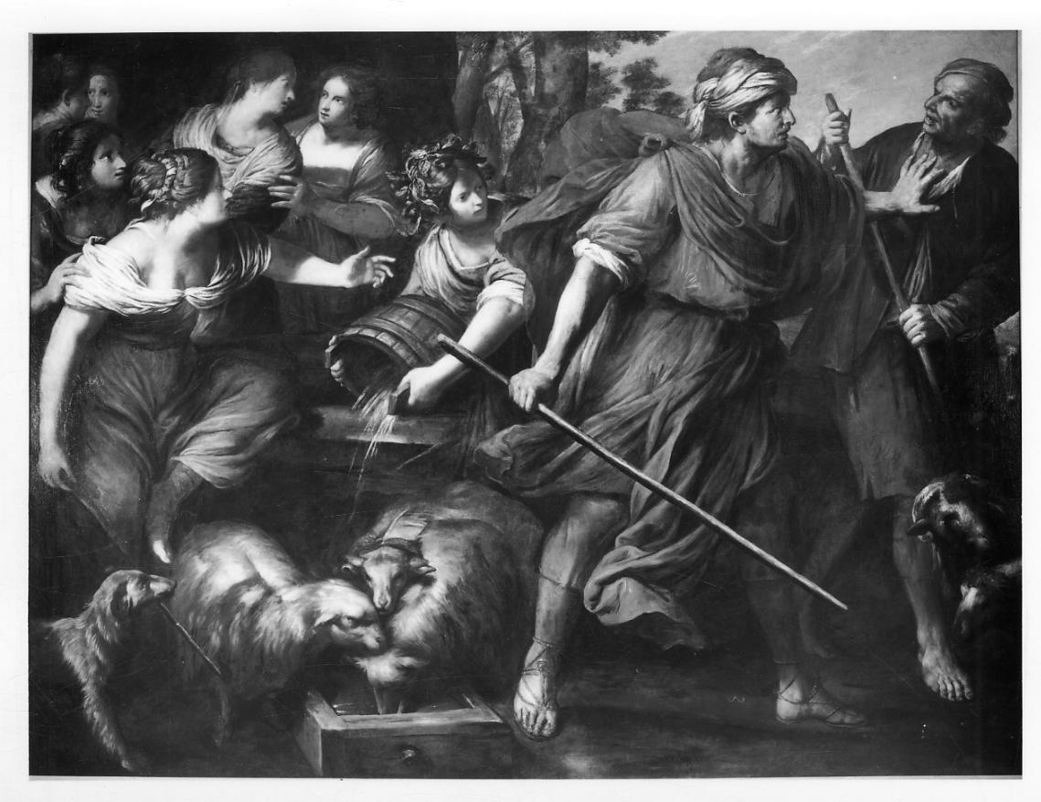 Mosè difende le figlie di Ietro (dipinto, opera isolata) di Carlone Giovanni Battista (terzo quarto sec. XVII)