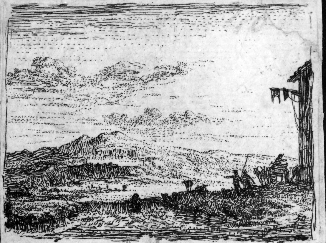 Il carretto davanti alla locanda, scena campestre con figure (stampa) di Du Jardin Karel (terzo quarto sec. XVII)