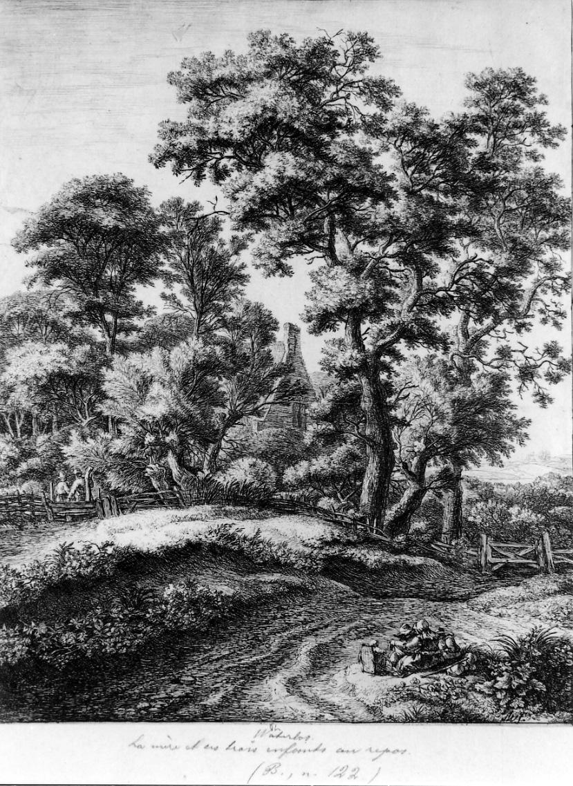 LA MADRE E I TRE FIGLI IN RIPOSO, scena campestre con figure (stampa) di Waterloo Anthonie (metà sec. XVII)