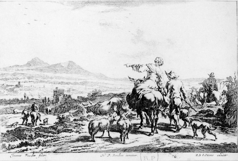 DONNA SU UN ASINO, PASTORI E VACCHE, SCENA CAMPESTRE CON FIGURE (stampa) di Berchem Nicolaes, De Visscher Jan (seconda metà sec. XVII)