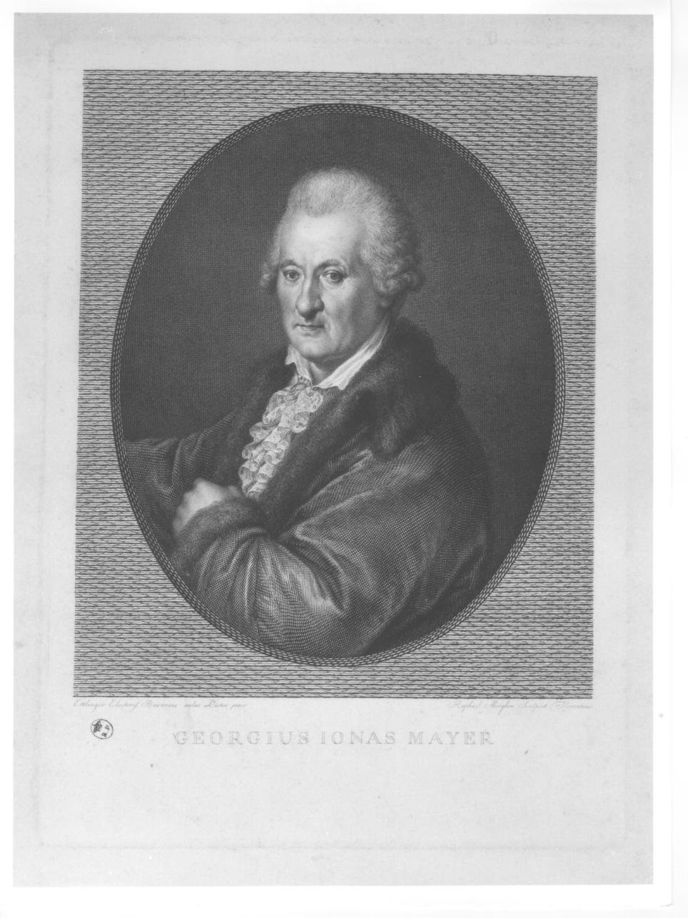ritratto a mezzo busto di Georgius Ionas Mayer (stampa) di Morghen Raffaello (sec. XIX, primo quarto)