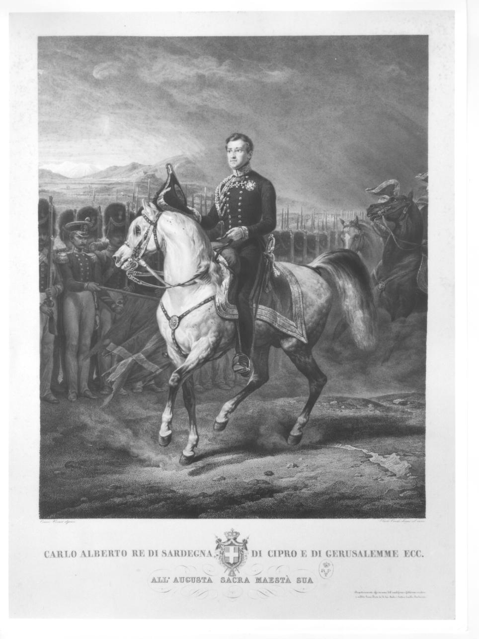 ritratto equestre di Carlo Alberto di Savoia (stampa) di Toschi Paolo, Vernet Horace (metà sec. XIX)