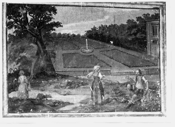 scena campestre con figure (dipinto) - ambito lucano (fine/inizio secc. XVIII/ XIX)