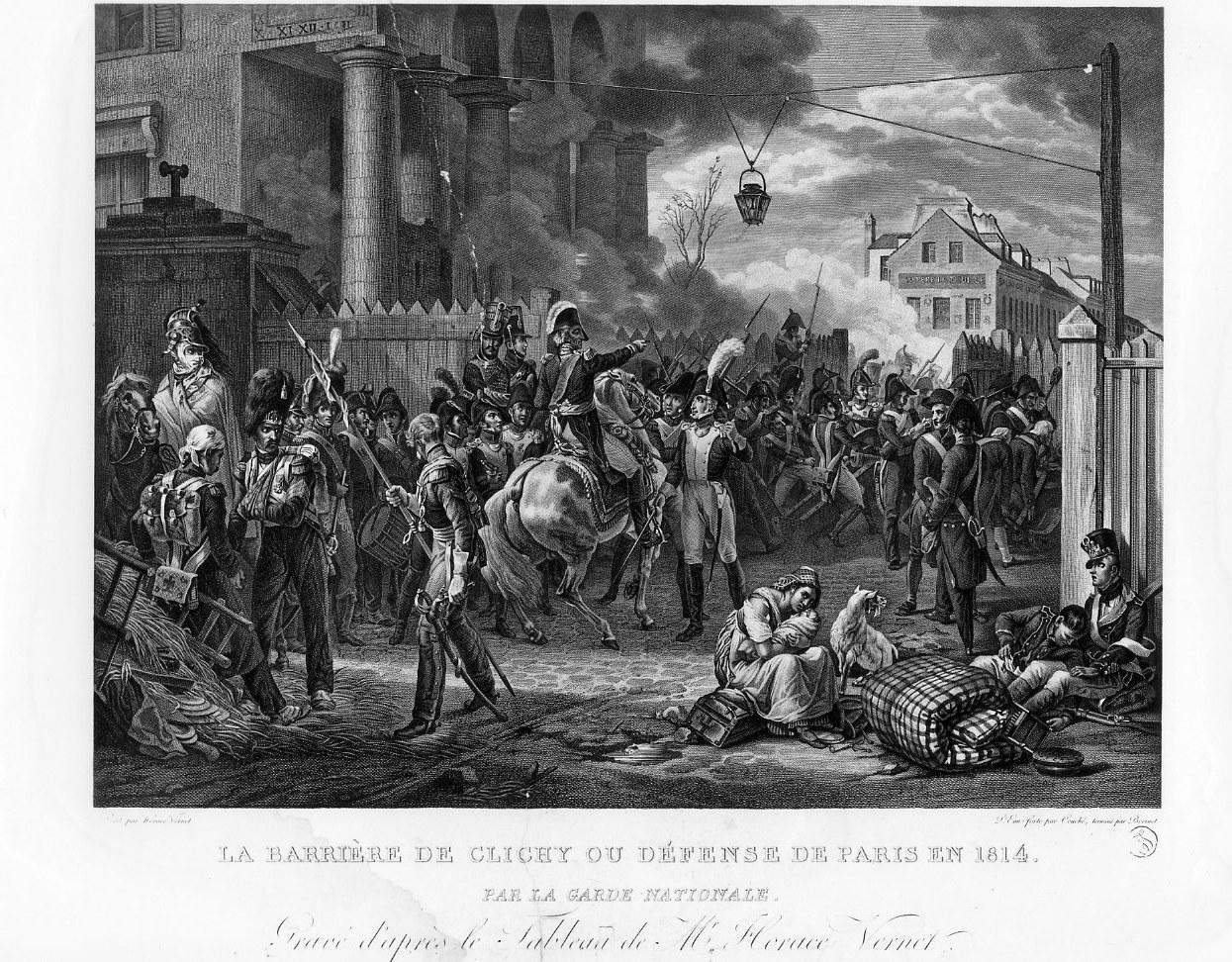 Combattimento della Guardia Nazionale alla Barriera diClichy (stampa) di Couché Jacques, Bovinet Edme, Vernet Horace (sec. XIX)
