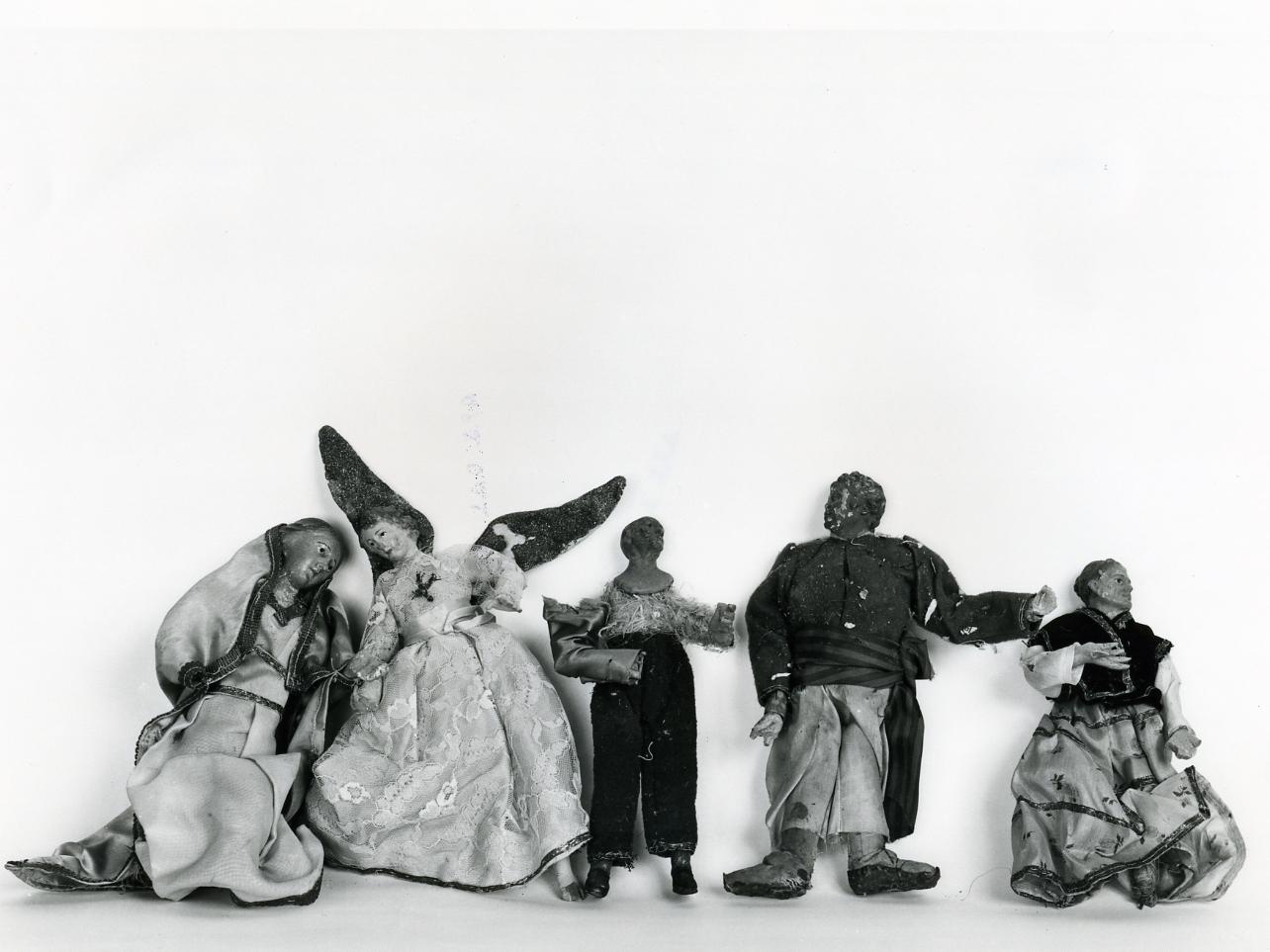 statuetta di presepio, insieme - bottega napoletana (fine sec. XIX)