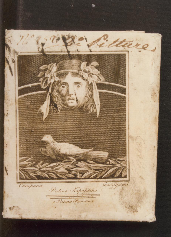 motivo decorativo con maschera e colomba (stampa controfondata) di Giomignani Francesco, Campana Vincenzo (seconda metà sec. XVIII)
