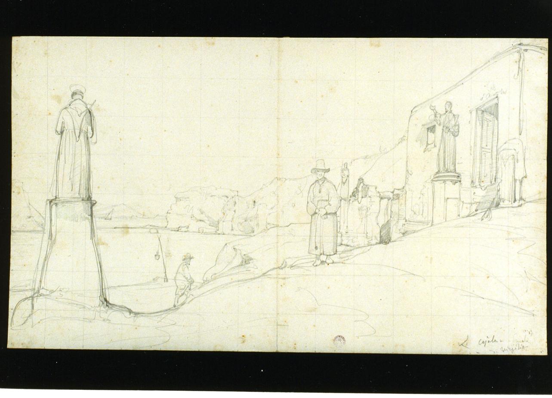 veduta della Gaiola a Napoli (disegno) di Gigante Giacinto (secondo quarto sec. XIX)