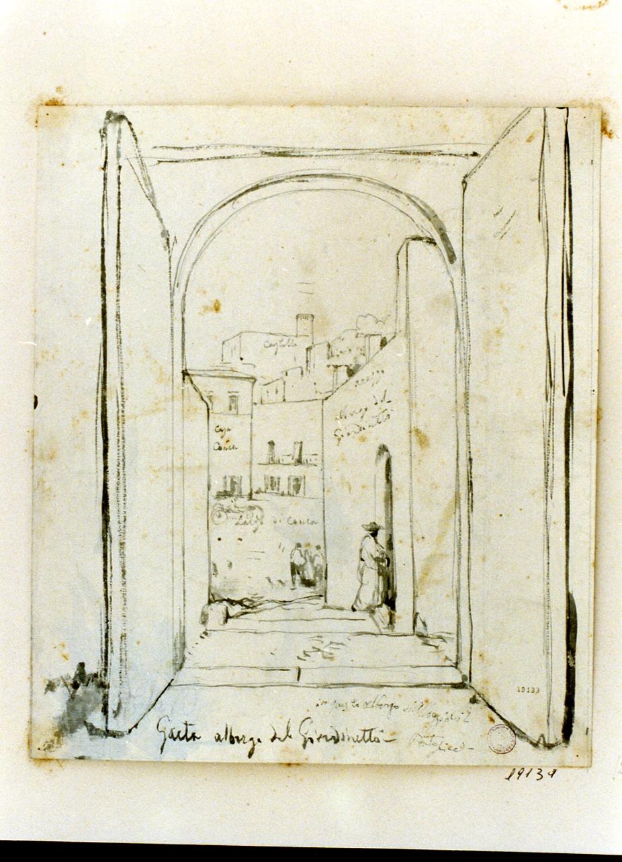veduta dell'albergo del giardinetto a Gaeta (disegno) di Gigante Giacinto (metà sec. XIX)