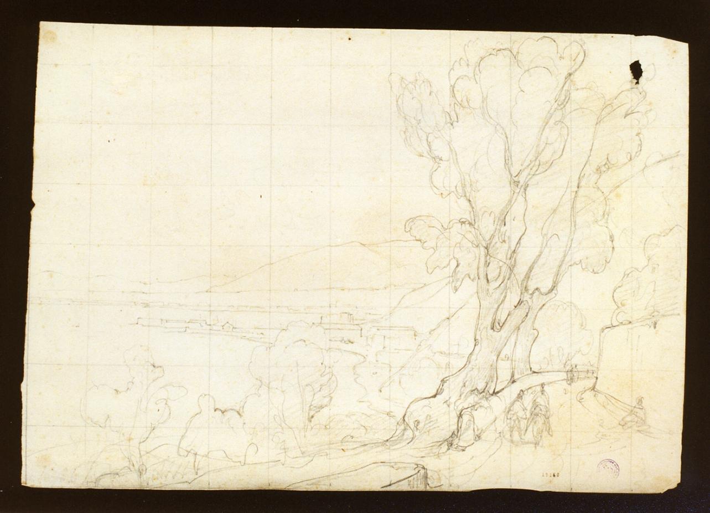 paesaggio con alberi (disegno) di Gigante Giacinto (secondo quarto sec. XIX)