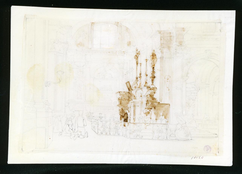 interno della chiesa dell'abbazia di Montecassino (disegno) - ambito napoletano (terzo quarto sec. XIX)