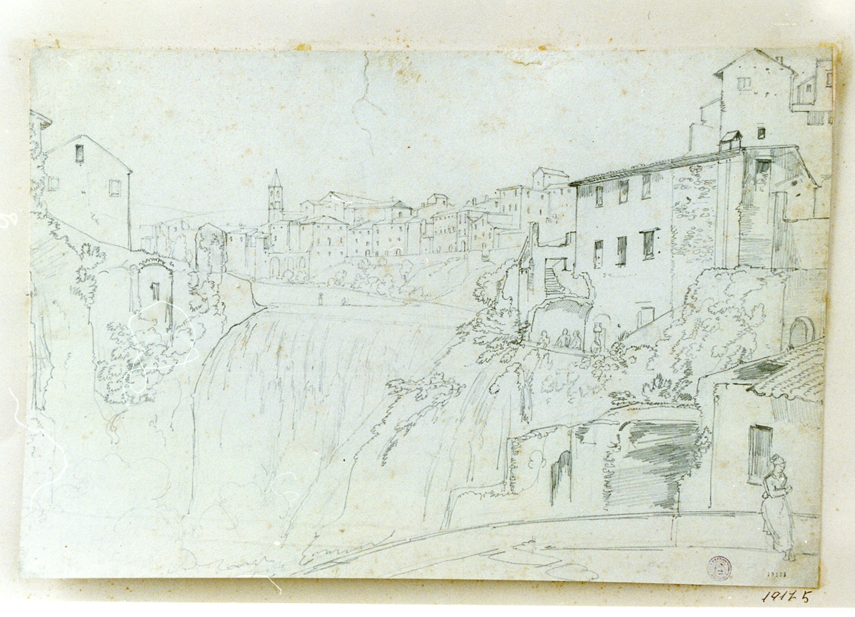 veduta di Tivoli (disegno) di Gigante Giacinto (sec. XIX)