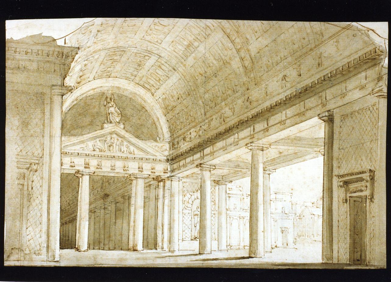 studio per scenografia (disegno) di Niccolini Antonio (scuola) (metà sec. XIX)