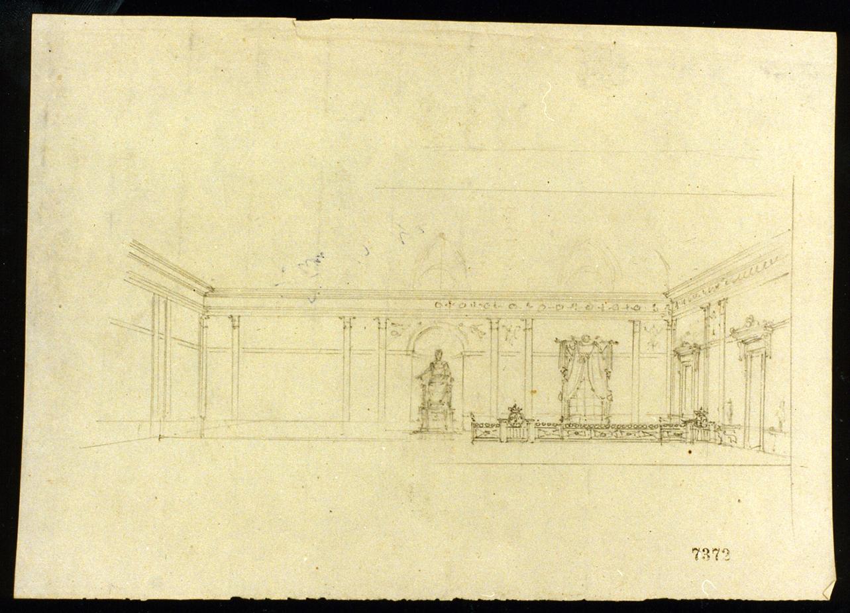progetto per una sala del palazzo reale di Napoli (disegno) di Niccolini Antonio (sec. XIX)