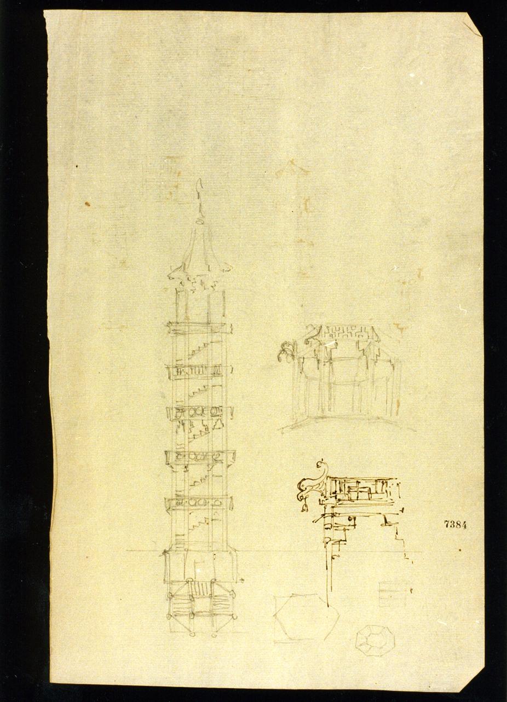 studio per la torre nel giardino della Floridiana (disegno) di Niccolini Antonio (sec. XIX)